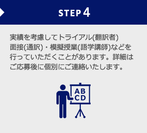 実績を考慮してトライアル(翻訳者)面接(通訳)・模擬授業(語学講師)などを行っていただくことがあります。詳細はご応募後に個別にご連絡いたします。